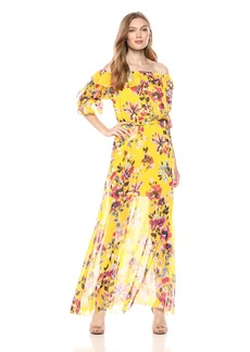 French Connection Women's LINOSA Crinkle Off The Shoulder Floral Maxi Dress  10