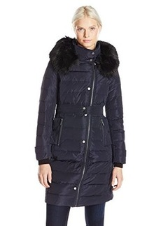 French Connection Women's Long Down Coat with Faur Fur Hood  edium
