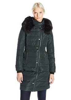 French Connection Women's Long Down Coat with Faur Fur Hood  X-Small