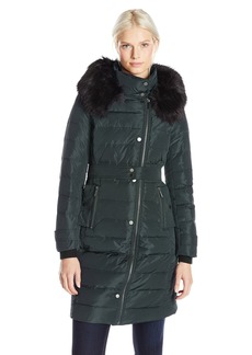 French Connection Women's Long Down Coat with Faux Fur Hood