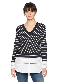 French Connection Women's Long Sleeve Top with Underlay Shirting Utlty BL/CLSC C S