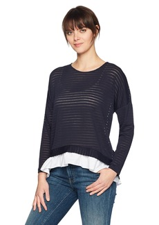 French Connection Women's Long Sleeve Top with Underlay Shirting Utlty BL/Lnn WH S