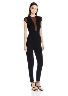 French Connection Women's Black Lace and Sheer Fitted Straight Leg Jumpsuit Marie