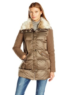 French Connection Women's Mixed Media Down Coat with Faux Fur Collar  L