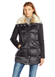 French Connection Women's Mixed Media Down Coat With Faux Fur Collar  S
