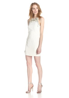 French Connection Women's New Moon Beaded Detail at Neck Sleeveles Dress