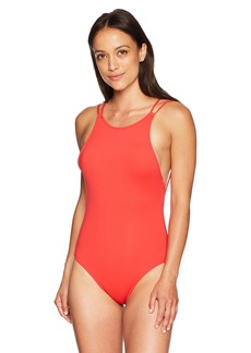 French Connection Women's One Piece Solid Swimsuit Shanghai red Cross Back S