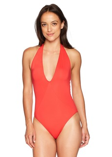 French Connection Women's One Piece Solid Swimsuit Shanghai red Halter XS