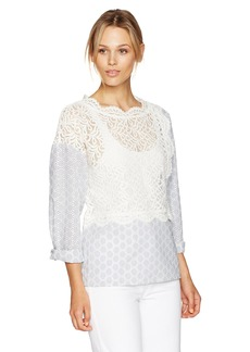 French Connection Women's Oni Lace Mix Top  M