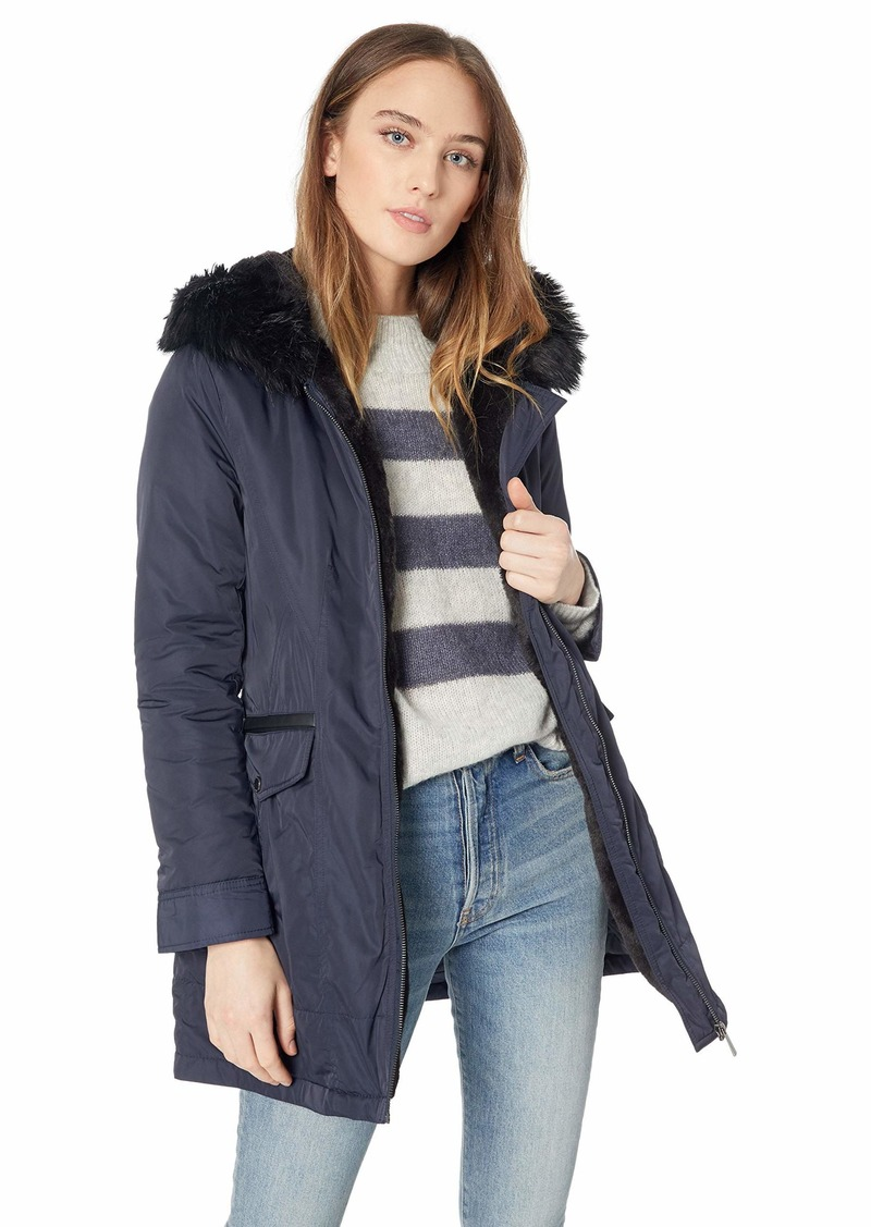 French Connection Women's Parka with Faux Fur Lined Hood  L