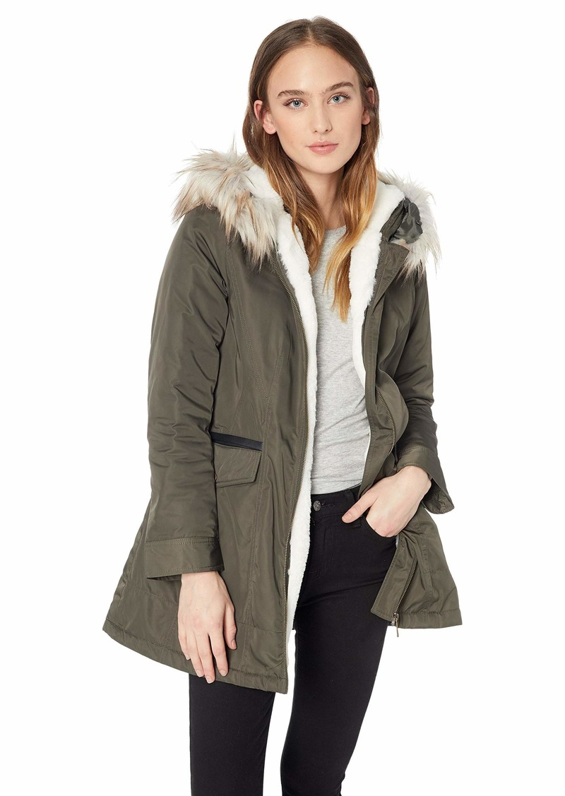 French Connection Women's Parka with Faux Fur Lined Hood  XL