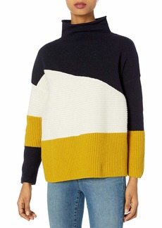 French Connection Women's Patchwork Sweater Light Oatmeal/Citronelle/Utility Blue M