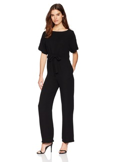 French Connection Women's Patras Crepe Off The Shoulder Tie Jumpsuit with Pockets