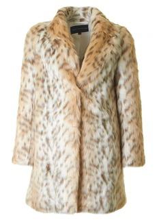 French Connection Women's Paulette Faux Fur Coat pale leopard