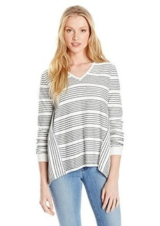 French Connection Women's Pinstripe Crochet Sweater