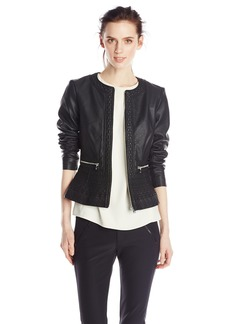 French Connection Women's Plush Faux-Leather Jacket