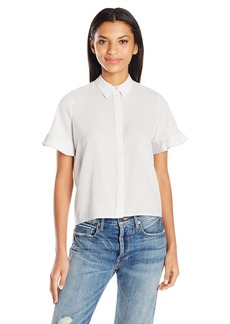French Connection Women's Polly Plains Frill Blouse  XS