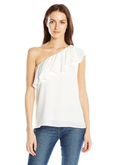 French Connection Women's Polly Plains One Shoulder Ruffle Top  L