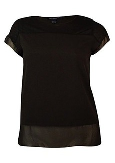 French Connection Women's Polly Plains Raw Edge Tee  arge