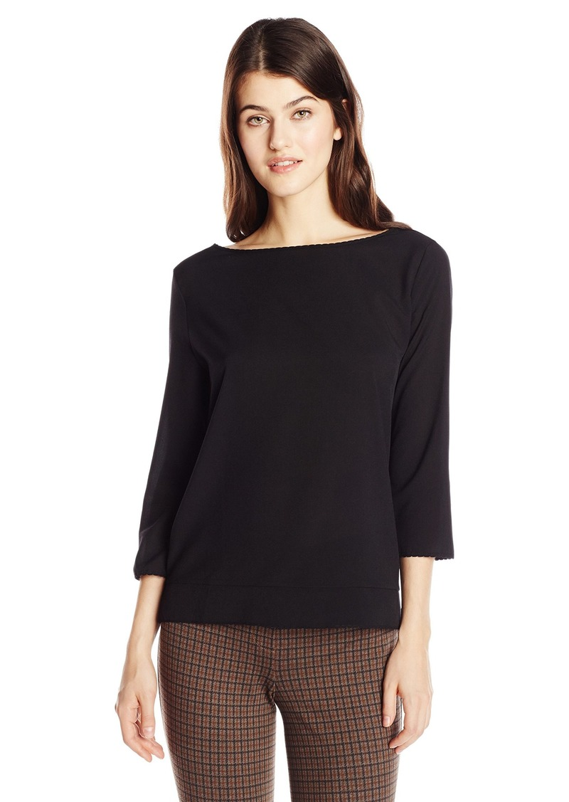 French Connection Women's Polly Plains Scallop Edge Top