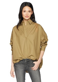 French Connection Women's Rhodes Polin Light Weight Long Sleeve Oversized Shirt  M