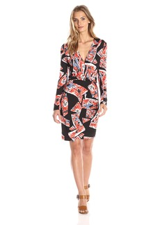 French Connection Women's Riot Rose Jersey Long Sleeve Wrap Dress