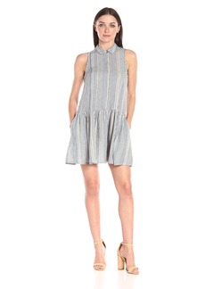 French Connection Women's Serge Stripe Sleeveless Shirt Dress