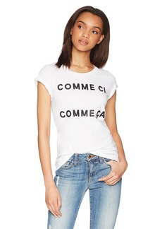 French Connection Women's Short Sleeve Crew Neck French Slogan T-Shirt  l