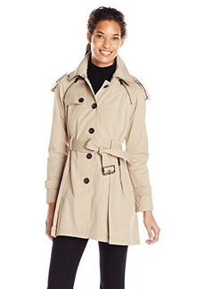 French Connection Women's Single Breasted Trench with Pleated Back