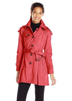 French Connection Women's Single Breasted Trench with Pleated Back  X-Large