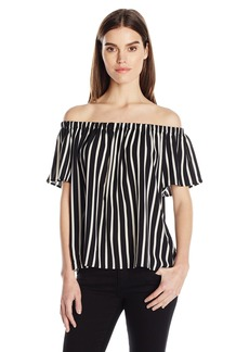 French Connection Women's Stripe Crepe Light Top  L