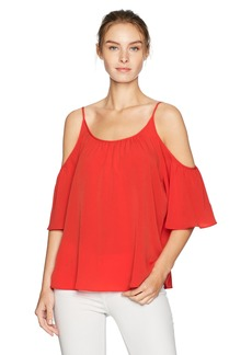 French Connection Women's Summer Crepe Light Cold Shoulder Top Margo RED S