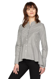 French Connection Women's Summer Stripe Mix Long Sleeve Button Down Top