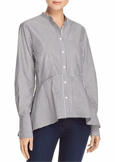French Connection Women's Summer Stripe Mix Long Sleeve Button Down Top Black/line