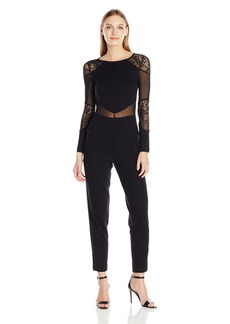 6097f30aedd2 French Connection Women s Black Lace and Sheer Fitted Straight Leg Jumpsuit