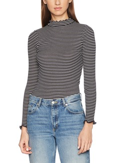 French Connection Women's Tim Rib Stripe L/S Hgh Nk Long Sleeve Top Multicolred(Utility Blue/Classic Cream) L
