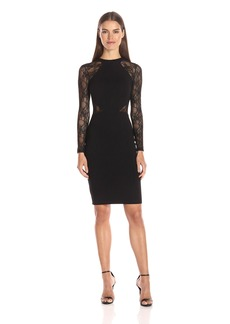 French Connection Women's Viven Bodycon Semi Sheer Stretch Dress Black LS