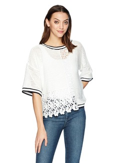 French Connection Women's Vosporos Mixing Lace Print Top  L