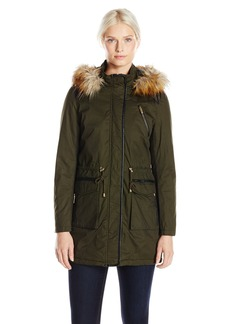 French Connection Women's Wax-Finish Anorak Jacket with Faux-Fur Trim