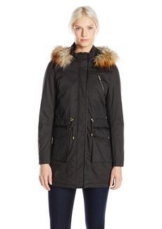 French Connection Women's Wax Finish Anorak with Faux Fur Trim Hood  X-Large