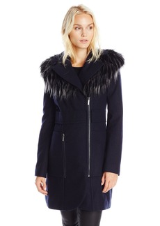French Connection Women's Wool Coat with Removable Faux Fur Neck