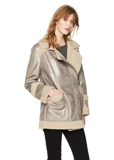 French Connection Women's Zelda Silver Metallic Shearling Coat