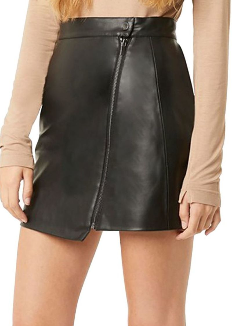 French Connection Zip-Front Faux Leather Skirt