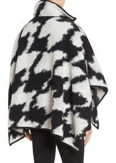 French Connection Zip Front Houndstooth Wool Blend Poncho