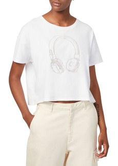 French Connection Headphones Embroidery Crop Tee