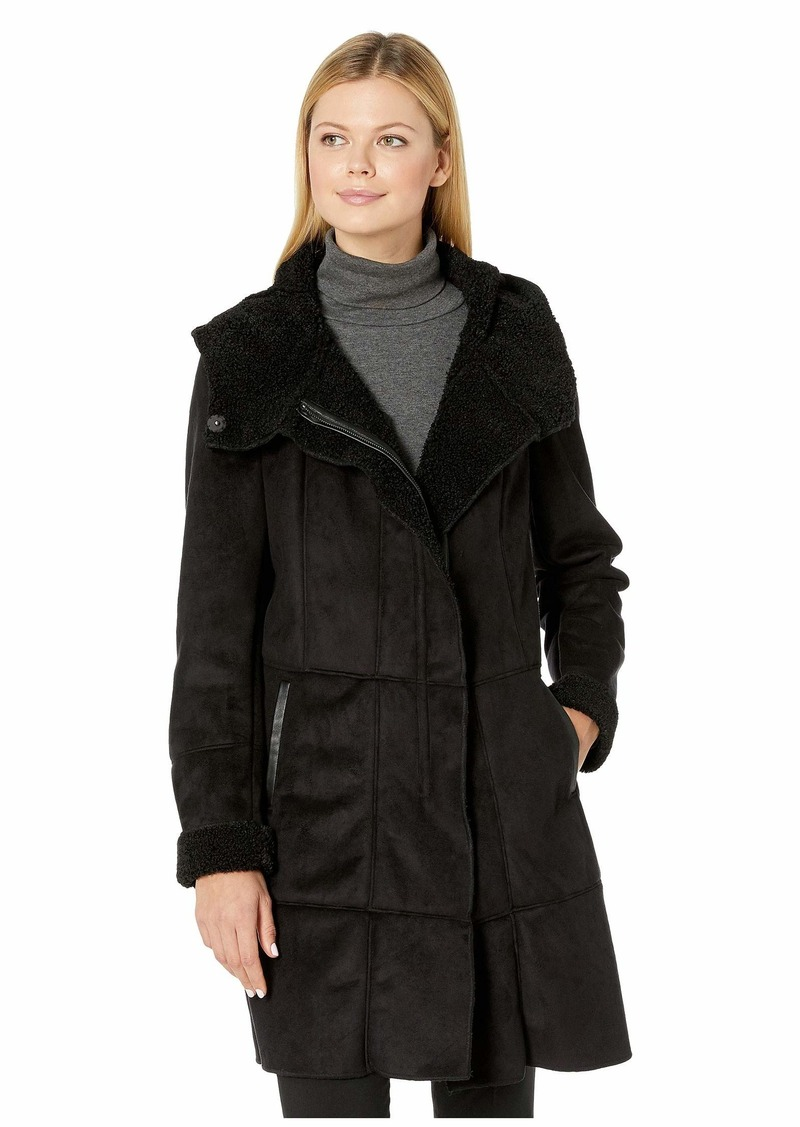 French Connection Womens Wax-Finish Anorak with Faux-Fur Trim