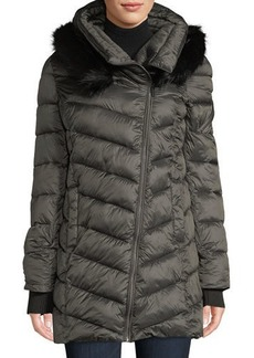 French Connection Hooded Puffer Jacket with Faux-Fur Collar