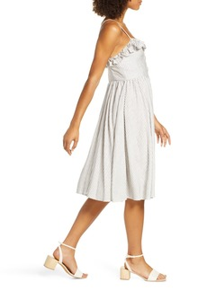 French Connection Laiche Stripe Ruffle Fit & Flare Sun Dress