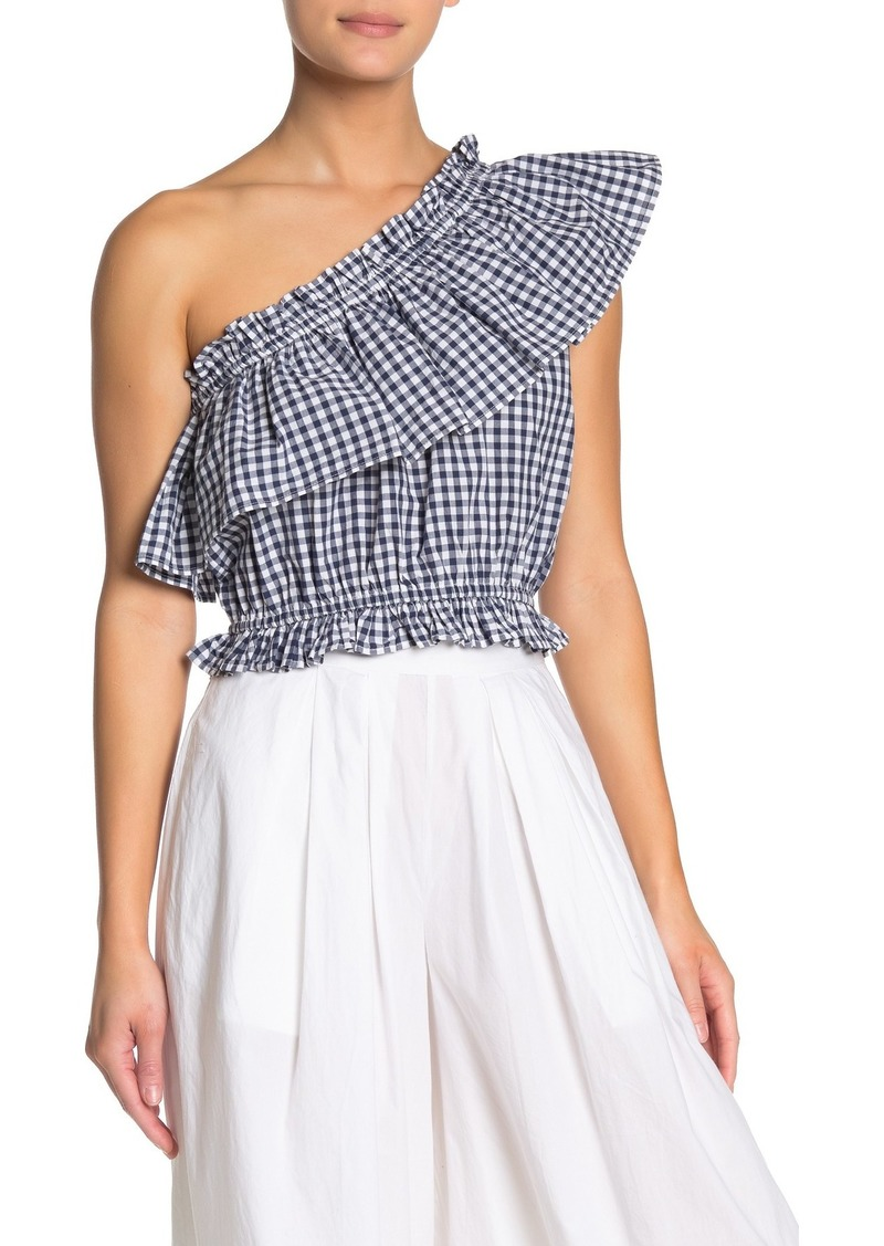 French Connection Lavande Gingham One Shoulder Top
