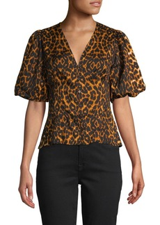 French Connection Leopard-Print Puffed-Sleeve Top